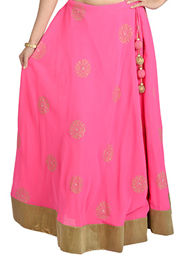 9rasa Block Printed Pink Georgette Skirt