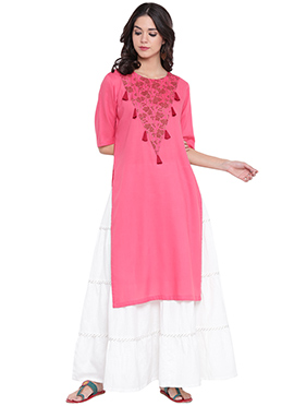 9rasa Pink Viscose Skirt Set