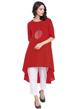9rasa Red Cotton Long Kurti