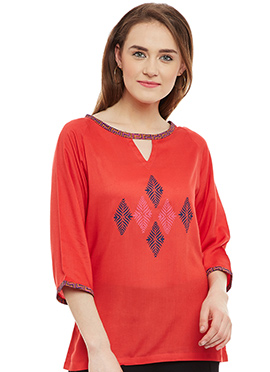 9Rasa Red Cotton Rayon Top