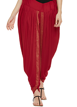 9rasa Red Cotton Viscose Dhoti Pant