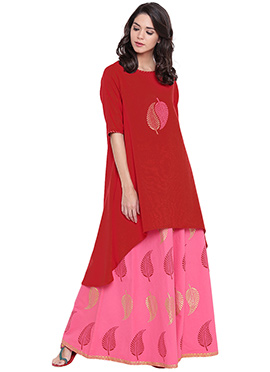 9rasa Red Cotton Viscose Skirt Set