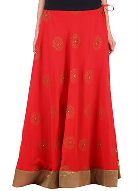 9rasa Red Georgette Printed Skirt