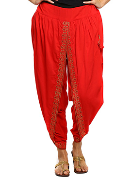9rasa Red Hand Block Printed Dhoti Pant