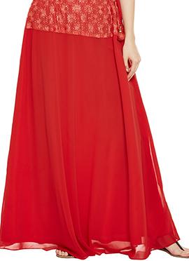 9rasa Red Polyester Skirt