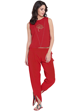 9rasa Red Viscose Dhoti Set