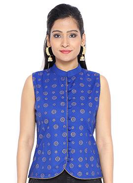 9rasa Royal Blue Cotton Foil Printed Top