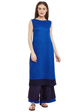 9rasa Royal Blue Cotton Viscose Palazzo Suit