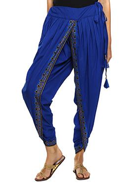 9rasa Royal Blue Hand Block Printed Dhoti Pant