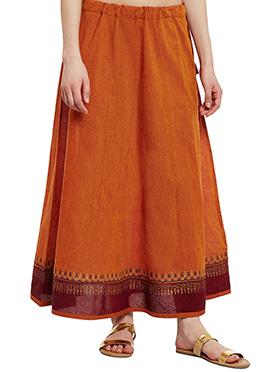 9Rasa Rust Mangalgiri Cotton Skirt