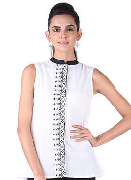 9rasa White Block Printed Placket Tunic