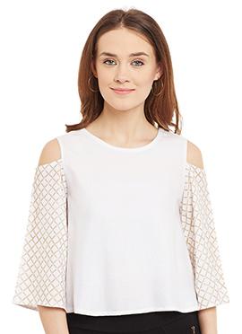 9Rasa White Cotton Cold Shoulder Top