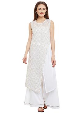 9Rasa White Cotton Kurti