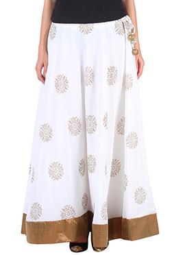 9rasa White Georgette Printed Skirt