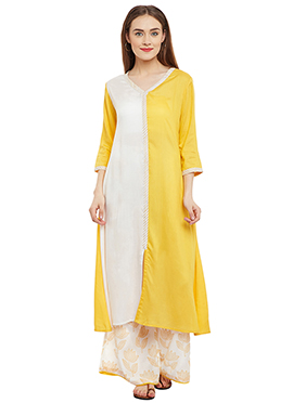 9Rasa White N Yellow Cotton Viscose Kurti