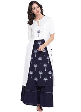 9rasa White Viscose Skirt Set