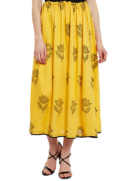 9Rasa Yellow Cotton Skirt