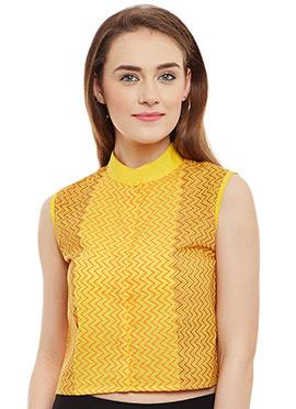 9Rasa Yellow Cotton Crop Top
