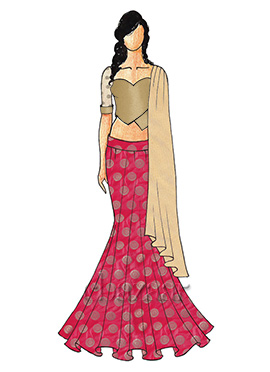 A Chic Antique Gold Fish Cut Lehenga with A Sweet