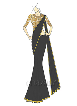 A Stylish Caviar Georgette Saree with Gold Embroid