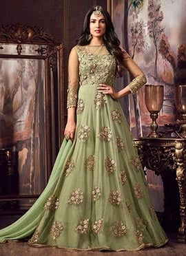 Amyra Dastut Green Embroidered Abaya Style Anarkal