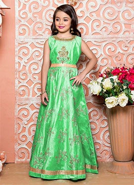 Aqua Green Art Silk Satin Kids Gown