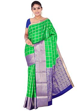 Aqua Green N Violet Pure Crepe Silk Saree