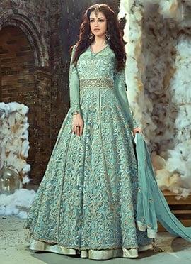 Aqua Green Net Layered Anarkali Suit