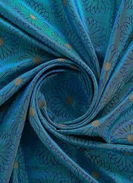 Aqua Blue Paper Silk Fabric