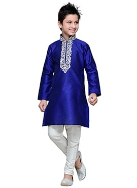 Art Silk Dark Royal Blue Embroidered Teens Kurta P