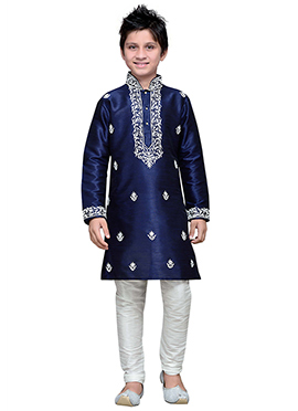 Art Silk Navy Blue Embroidered Teens Kurta Pyjama