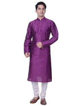 Art Silk Purple Solid Pattern Kurta Pyjama
