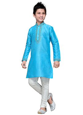 Art Silk Sky Blue Teens Kurta Pyjama