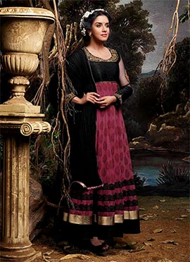 Asin Pink N Black Anarkali Suit