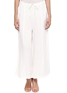 Ayaany Offwhite Cotton Palazzo Pant