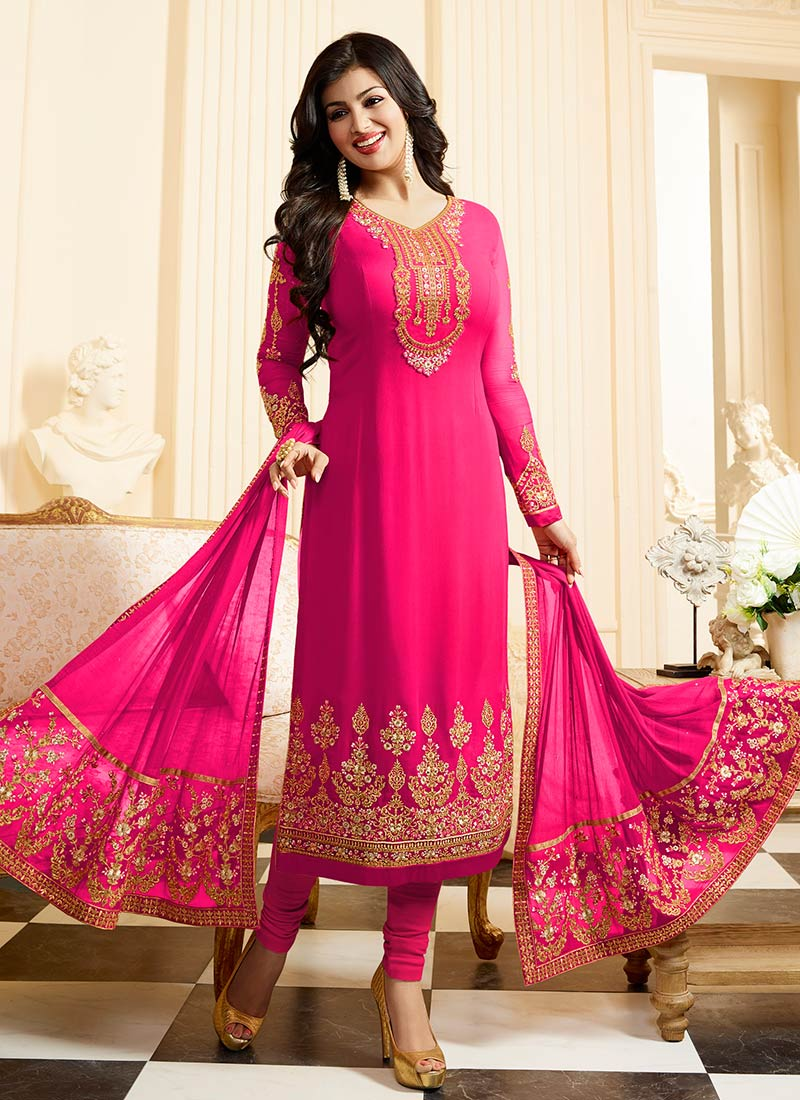 1c7efa8b20 Buy Ayesha Takia Rani Pink Georgette Straight Suit, Embroidered ...