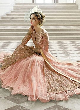 Baby Pink Long Choli Umbrella Lehenga