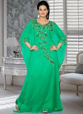 Beauteous Turquoise Green Farasha Fustan