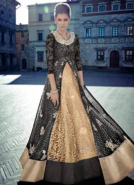 Beige N Black Anarkali Suit