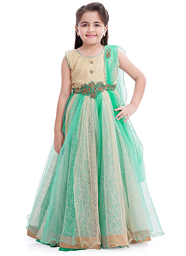 Beige N Green Embroidered Anarkali Gown