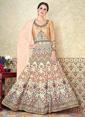 Beige N Cream Satin Abaya Style Anarkali Suit