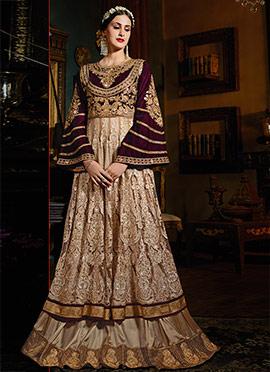 Beige N Dark Magenta Layered Anarkali Suit