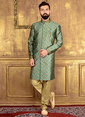 Beige N Green Art Silk Indowestern Sherwani