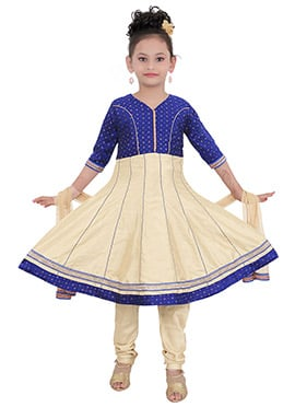 Beige N Blue Art Silk Kids Anarkali suit