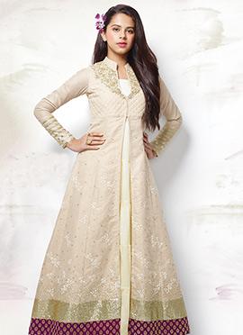 Beige N Off White Anarkali Suit