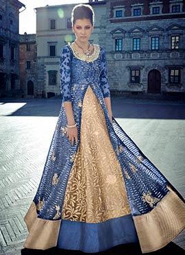 Beige N Blue Anarkali Suit