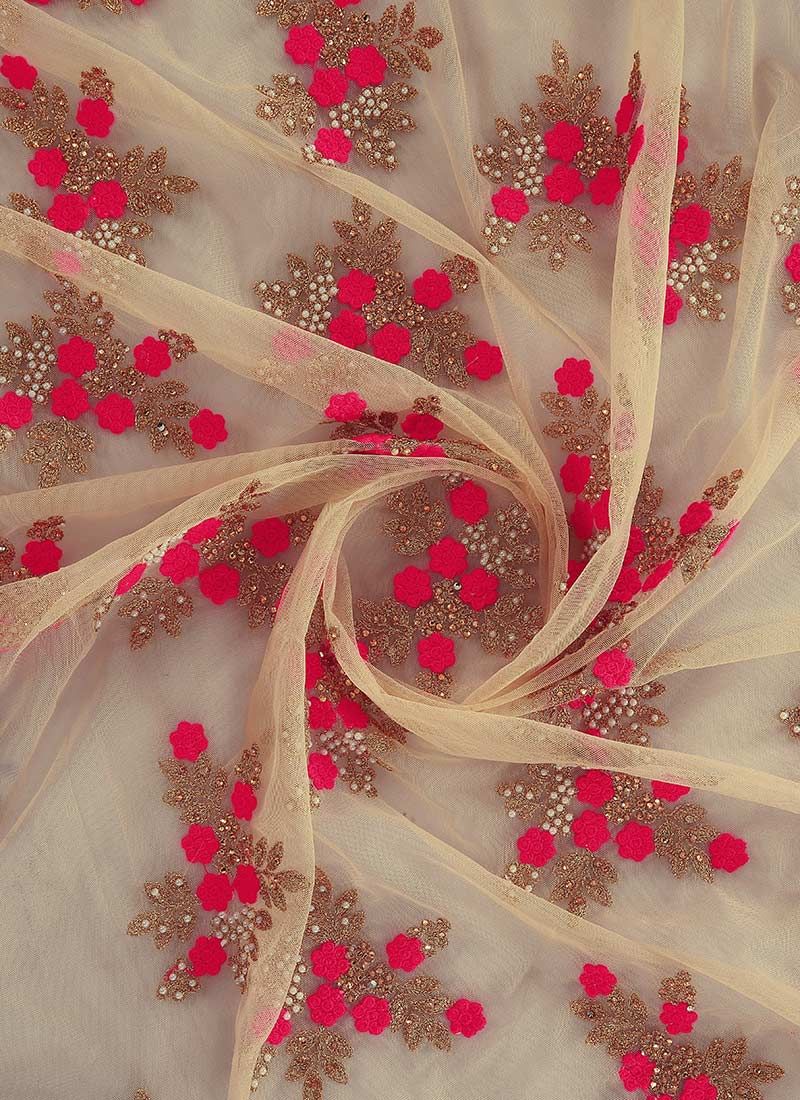 buy beige n pink net fabric beads stones embroidered
