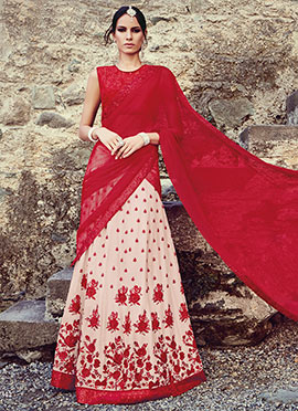 Beige N Red Embroidered Lehenga Choli