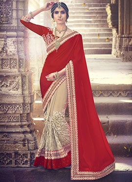 Beige N Red Half N Half Saree