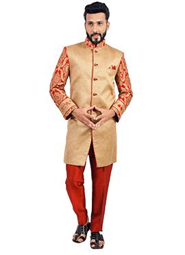 Beige N Red Jute Indowestern Sherwani